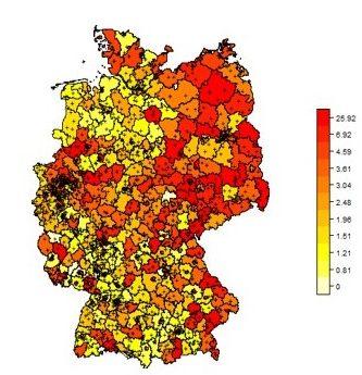 Abbildung der Krankenhausdiagnosen der Typ 2 Diabetes je Landkreis. Stand 2014